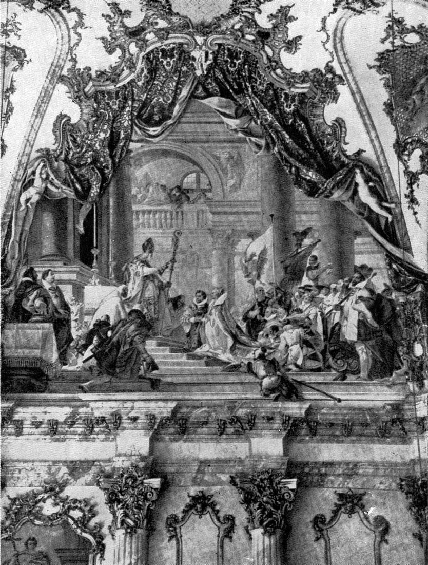 Джованни Баттиста Тьеполо. Бракосочетание Барбароссы. Фреска епископского дворца в Вюрцбурге. 1751-1753 гг.