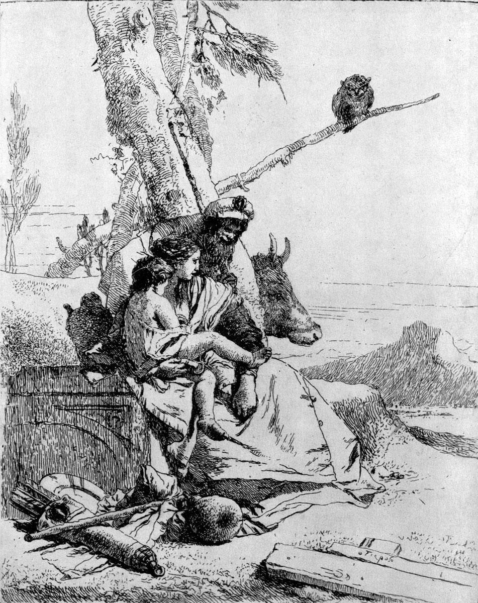 Джованни Баттиста Тьеполо. Офорт из серии «Scherzi di Fantasia». Ок. 1750 г.