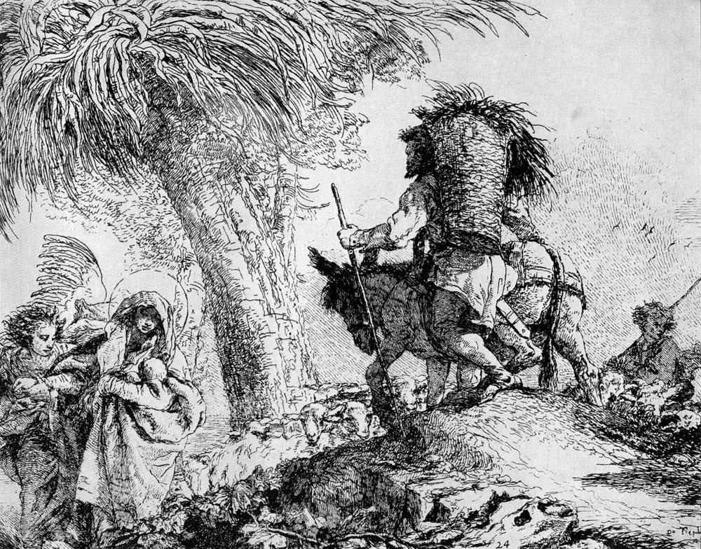 Джованни Доменико Тьеполо. Офорт из серии «Бегство в Египет». 1753 г.