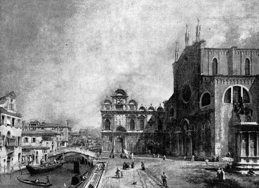 Каналетто. Площадь перед церковью Сан Джованни э Паоло в Венеции. Ок. 1725 г. Дрезден, Картинная галлерея.