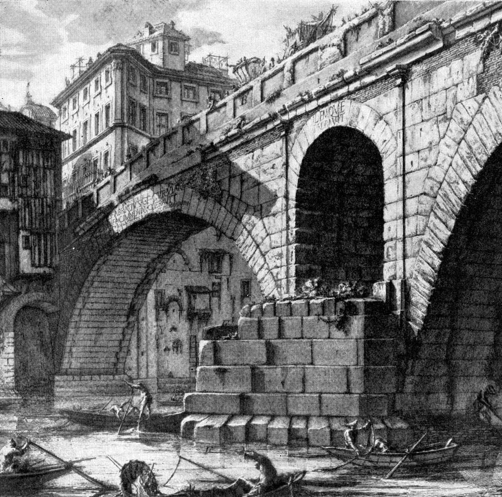Джованни Баттиста Пиранези. Мост Фабрицио. Фрагмент. Офорт из серии «Римские древности». 1756 г.