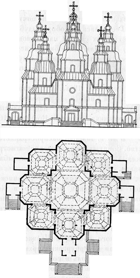 Фасад и план.