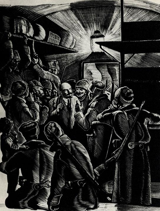 12. П. Староносов. Иллюстрация к книге П. Керженцева 'Жизнь Ленина'. 1938