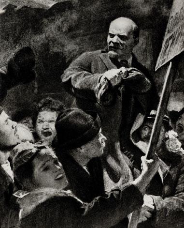 21. Е. Кибрик. Встреча В. И. Ленина на Финляндском вокзале. 1959