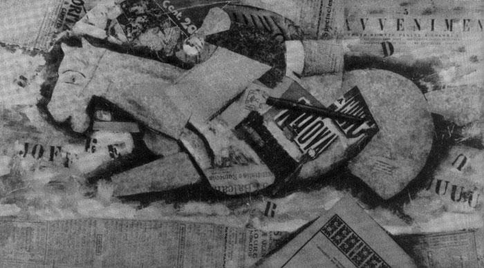 Всадник.  Коллаж.  1914 г. Милан, собрание Маттиоли.