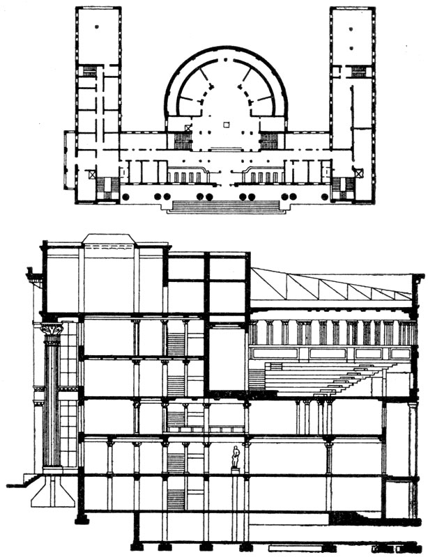 А.В.Щусев. Филиал Института марксизма-ленинизма в Тбилиси. 1938 г. План и разрез.