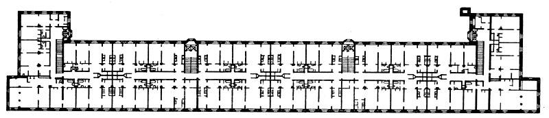 И. В. Жолтовский. Жилой дом на Б. Калужской улице (ныне Ленинском проспекте) в Москве. 1949 г. План типового этажа.