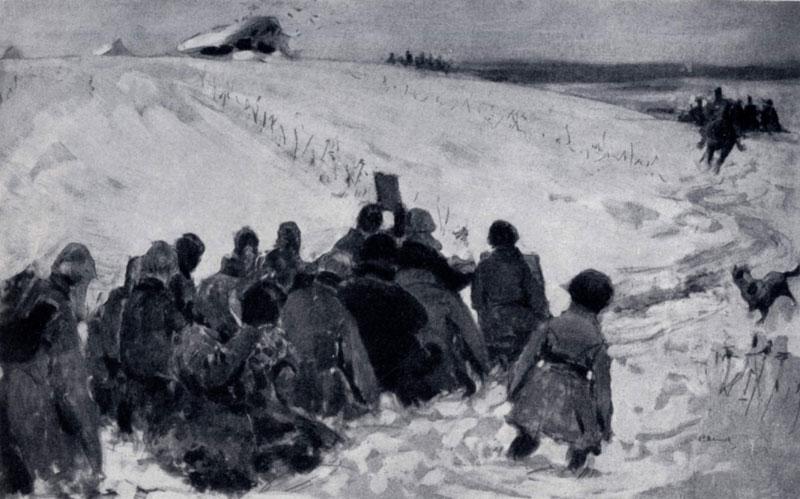 С. В. Иванов. Едут! Карательный отряд. 1905 г. Москва, Третьяковская галлерея