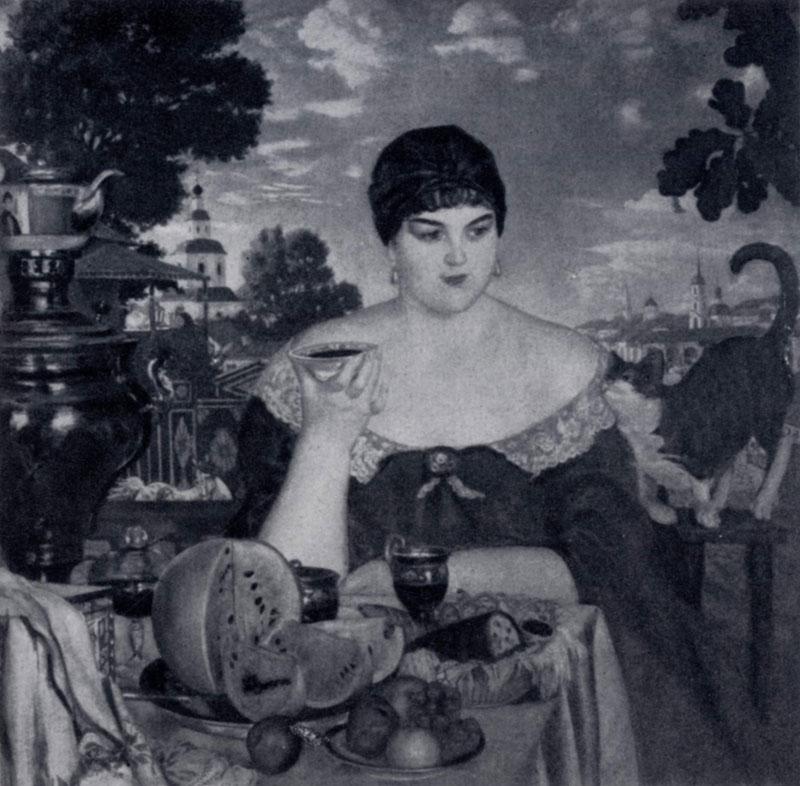 Б. М. Кустодиев. Купчиха за чаем. 1918 г. Ленинград, Русский музей