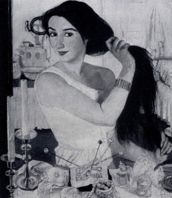 3. Е. Серебрякова. За туалетом (Автопортрет). 1909 г. Москва, Третьяковская галлерея