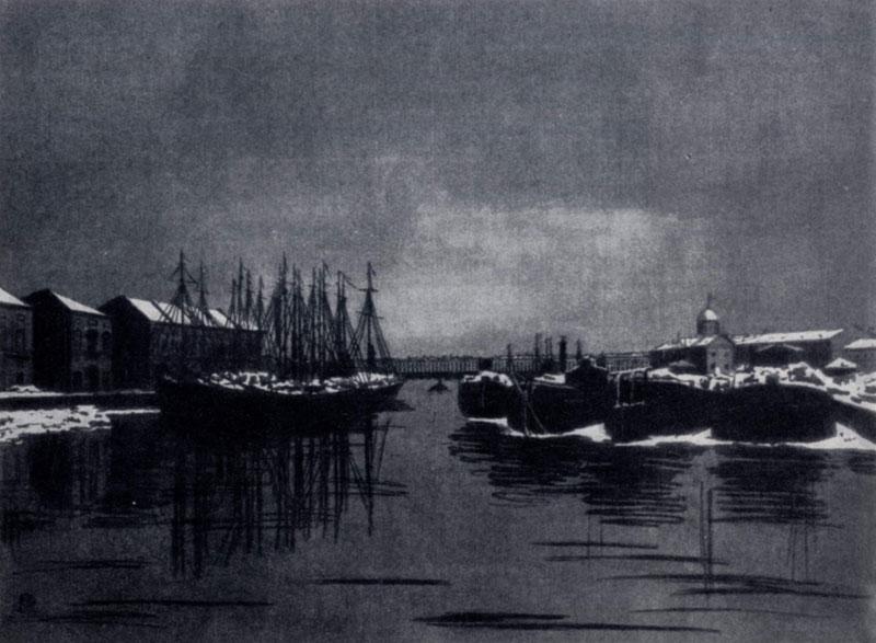 А. П. Остроумова-Лебедева. Дворец Бирона и барки. Цветная гравюра на дереве. 1916 г