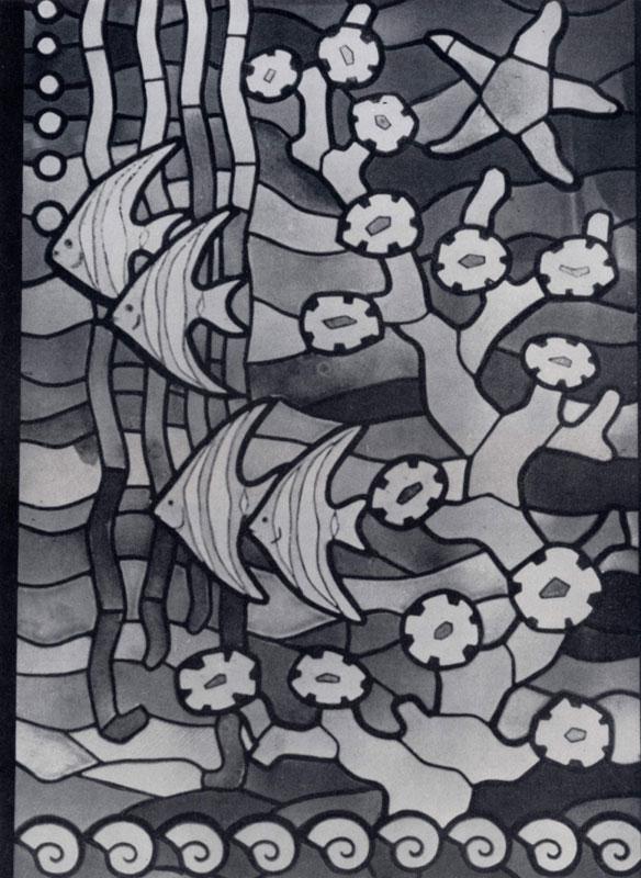 А. Мацкелайте, С.Янкаускайте. Декоративный витраж «Морское дно». Фрагмент. Цветное стекло, монтированное свинцом. 1961 г