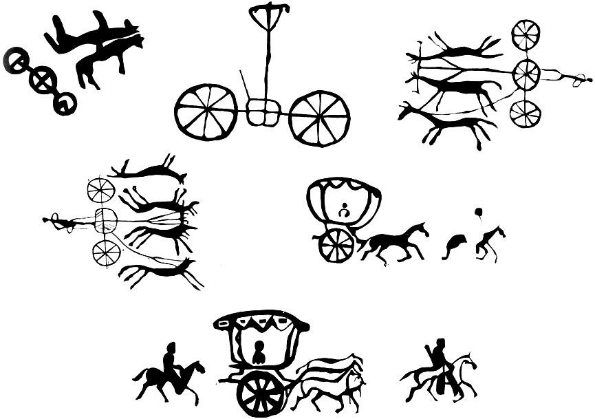 Наскальные рисунки с изображением повозок. Кобдоский аймак