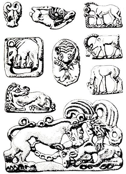Бронзовые украшения хуннского времени из Ордоса. I в. н. э