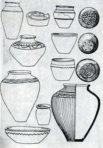 Образцы глиняных сосудов хуннского времени из музеев МНР