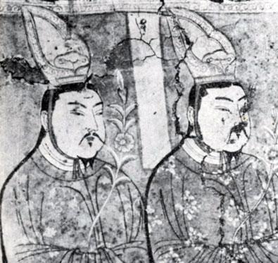 Придворные. Фрагмент росписи уйгурского времени. VIII в. Археологический музей в Нью-Дели