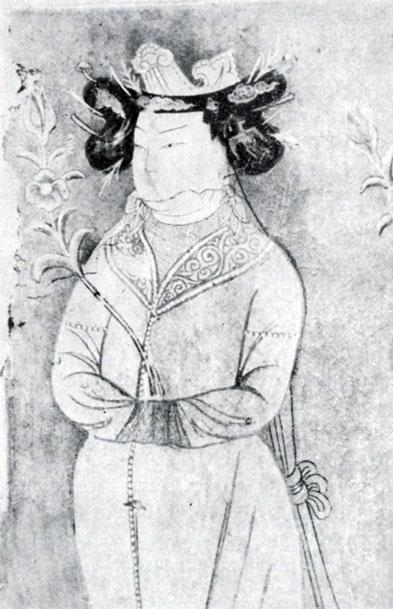 Принцесса. Фрагмент росписи уйгурского времени. VIII в. Археологический музей в Нью-Дели