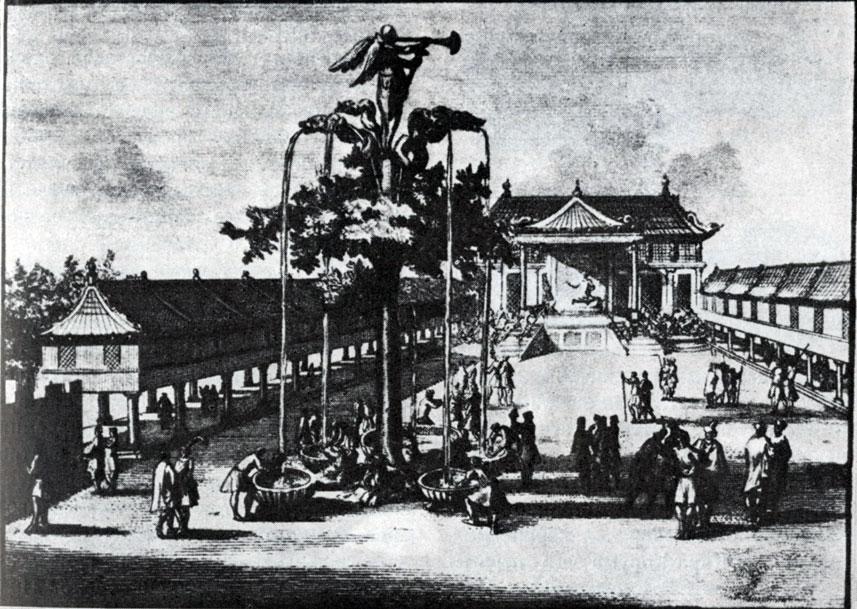 Ханский дворец и серебряное дерево в Кара-Коруме. XIII в. Рисунок XVIII в.