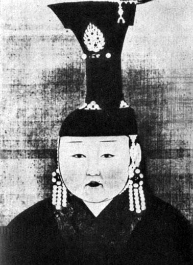 Портрет Дзамби — супруги Ху-билай-хана. Живопись на шелке. XIII в. Местонахождение неизвестно