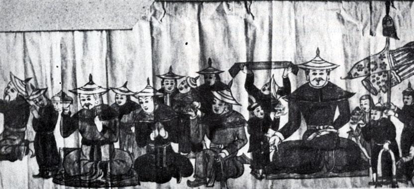 Неизвестный художник. Фрагменты росписи, посвященной Абатай-хану, в монастыре Эрдэни-Дзу. XVII в. Не сохранилась. Копия XX в.