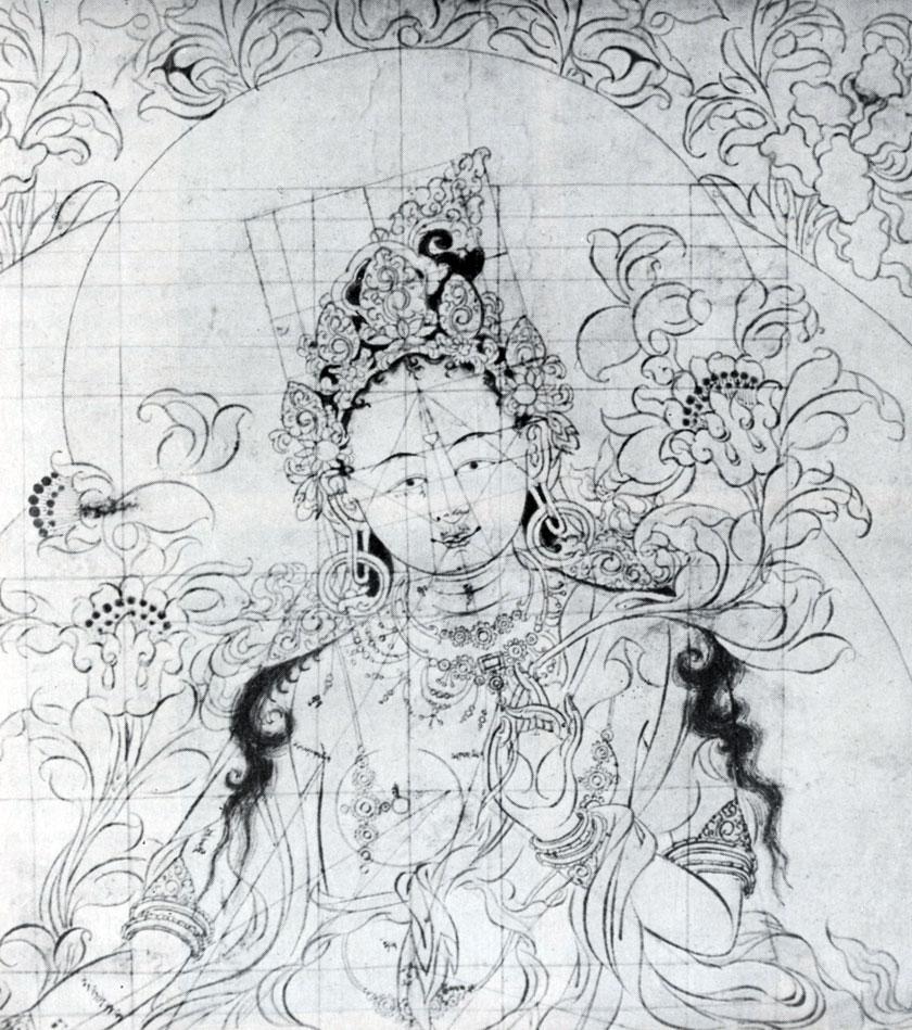 Дзанабадзар (?) Сита-Тара Подготовительный рисунок