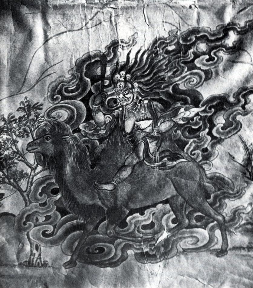 Цаганджамба. Верблюжье стадо. Фрагмент. Бумага, акварель. Конец XIX  — начало XX в. МИИ