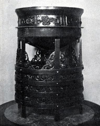 Котел и подставка — таган. Металл, резьба, чеканка. XIX в.