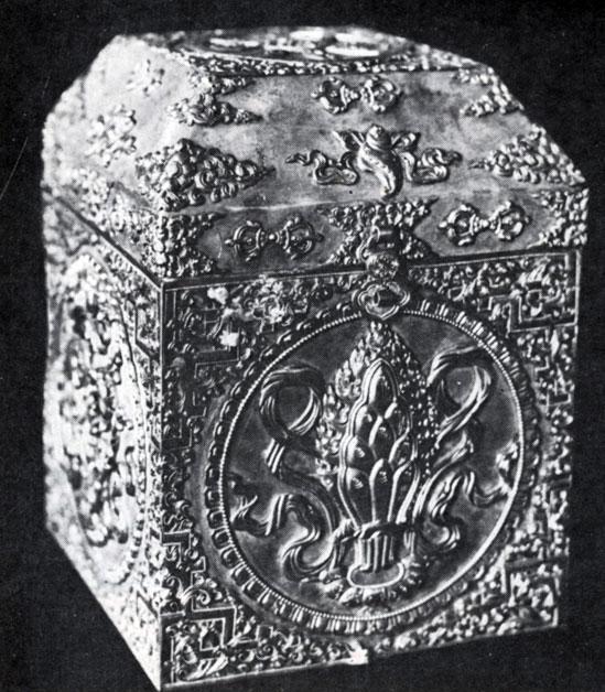 Шкатулка для печати. Серебро, позолота, чеканка. Начало XX в. ГЦМ