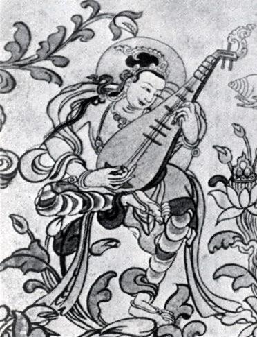 Неизвестный художник. Небесная музыкантша. Фрагмент росписи в монастыре Эрдэни-Дзу