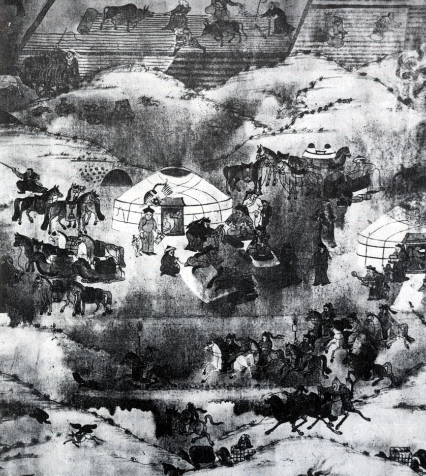 Балдугийн Шарав  (Марзан Шарав). Один день Монголии. Фрагмент. Полотно, минеральные  краски. Начало XX в. МИИ