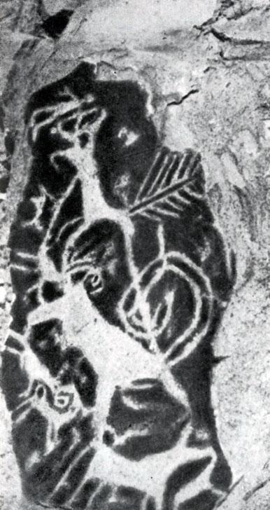 Сцена охоты. Наскальный рисунок из Увэр-Хангайского аймака