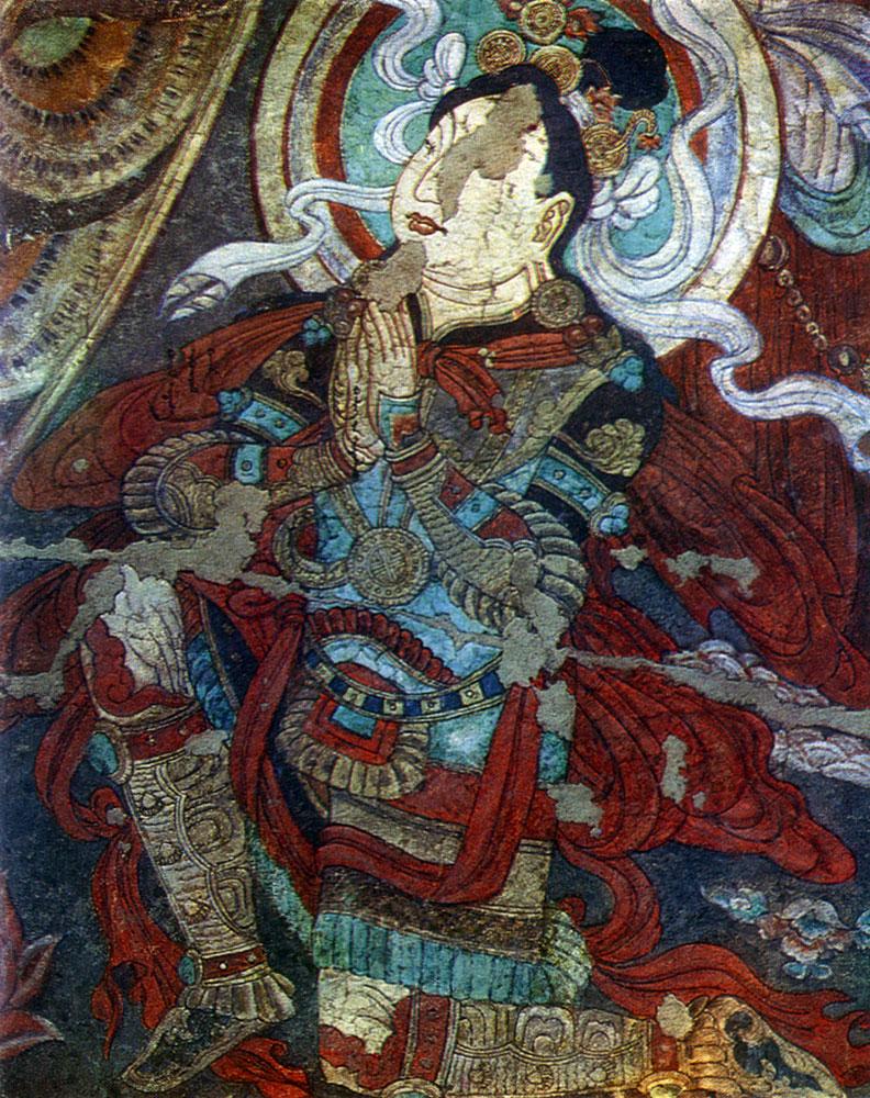 Молящийся. Фрагмент росписи VIII—IX вв. Археологический  музей в  Нью-Дели