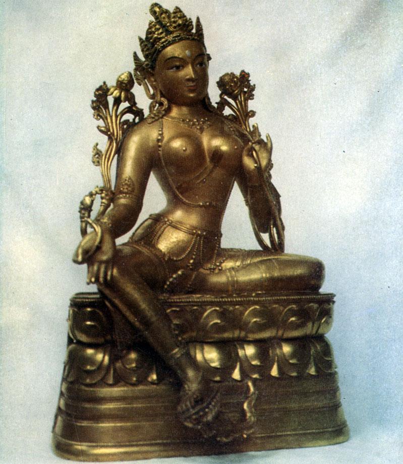 Дзанабадзар. Сияма-Тара (Зеленая Тара). Позолоченная бронза. XVII в. Хан-музей