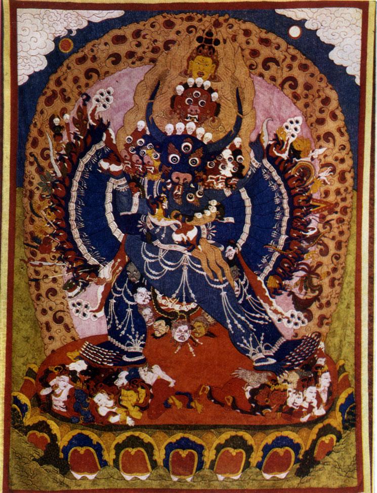 Неизвестный мастер. Ямантака. Полотно, минеральные краски. XIX в. Хан-музей