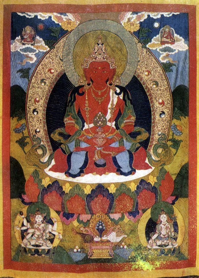 Неизвестный мастер. Амитаюс. Полотно, минеральные краски. XIX в. Хан-музей