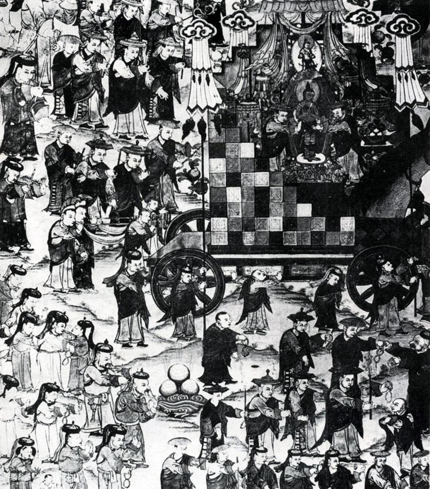 Цыренжап Дорж. Церемония «Шествие Майтрейи» в монастыре Ламын-гэгэн. Полотно, минеральные краски. Конец XIX — начало XX в. МИИ