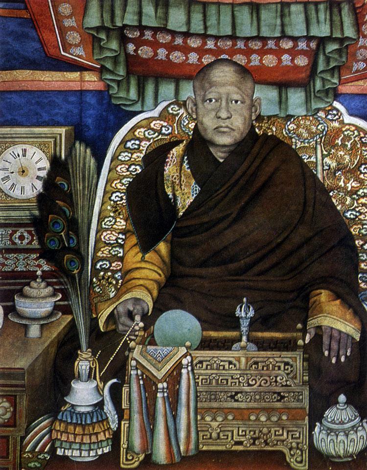 Балдугийн Шарав. Портрет VIII богдо-гэгэна. Полотно, минеральные краски. Начало XX в. МИИ