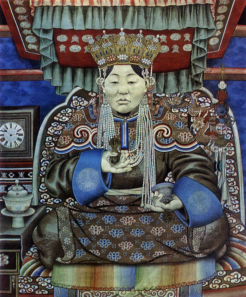 Балдугийн Шарав. Портрет жены VIII богдо-гэгэна. Полотно, минеральные краски. Начало XX в. МИИ