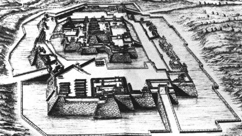 Замок Осака. Иллюстрация из